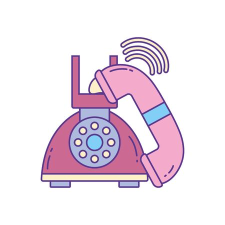old telephone call , phone fill and line vector illustration Foto de archivo - 137349522