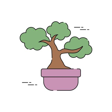 japanese bonsai tree plants flat fill vector illustration