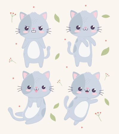 kawaii cartoon cute cats characters gesture faces expressions vector illustration