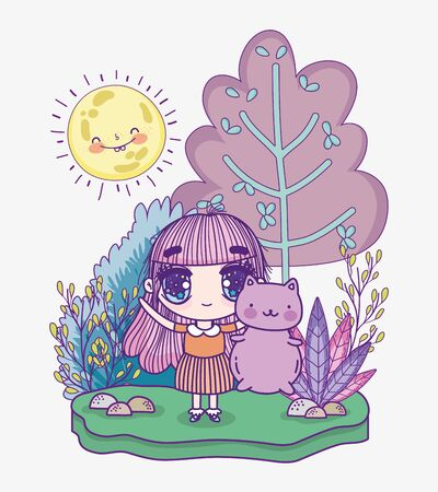 kids, cute little girl anime cartoon with cute cat outdoor vector illustration