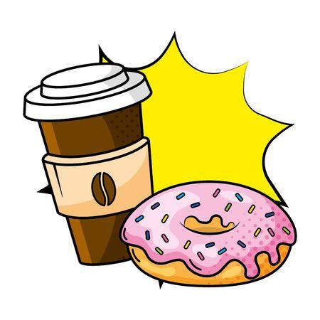papierowy kubek do kawy z ochroną przed ciepłem i pączkiem pop-art wektor ilustracja projekt graficzny Ilustracje wektorowe