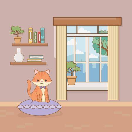 little cat mascot in the house room vector illustration design