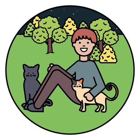 young man with cute cats mascots on the park