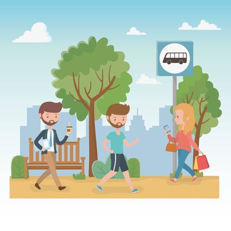 young people walking in the park characters vector illustration design