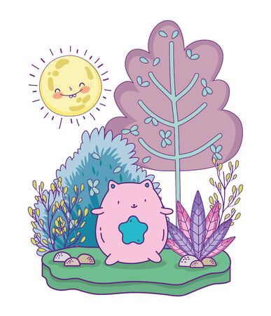 cute pink cat with star and tree foliage sunny day vector illustration