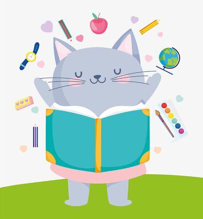 back to school cute cat reading book supplies education vector illustration