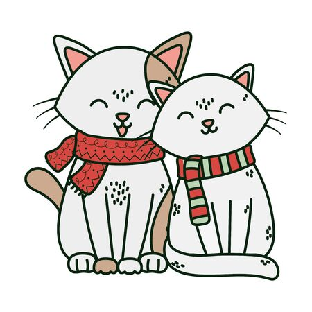adorable cats with scarf celebration merry christmas vector illustration
