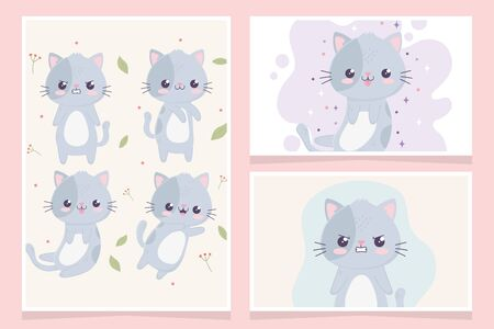 kawaii cartoon cute cats characters faces expressions banners Çizim