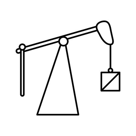 fracking oil rig drilling weight equipment vector illustration thick line