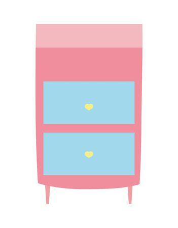 bedside table furniture drawers decoration Vektorgrafik