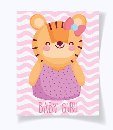 boy or girl, gender reveal its a girl cyte tiger card vector illustration