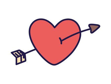 happy valentines day pierced heart arrow love card vector illustration