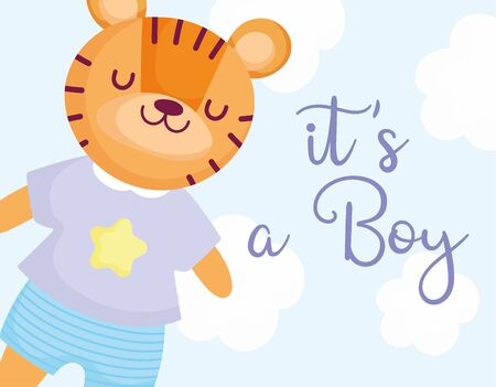 boy or girl, gender reveal its a boy cute tiger with shirt and pants card vector illustration