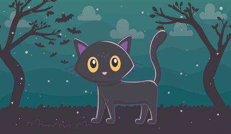 black cat walking in the night trick or treat - happy halloween vector illustration