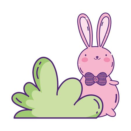 cute pink rabbit with bow tie bush nature
