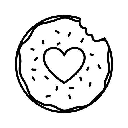 glücklicher valentinstag beißen süßer donut liebe vektorillustration dicke linie