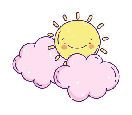 cartoon sun clouds weather decoration