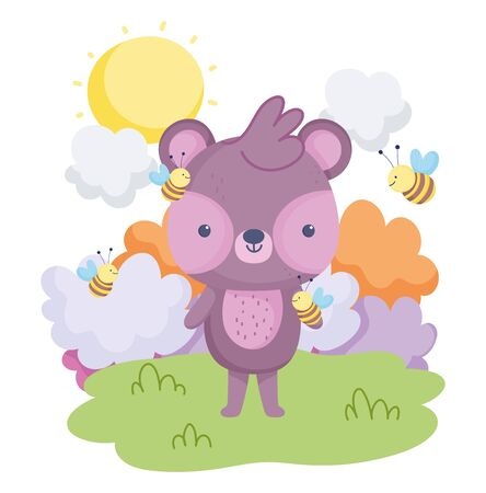 cute animals, little bear flying bee clouds grass card Illustration