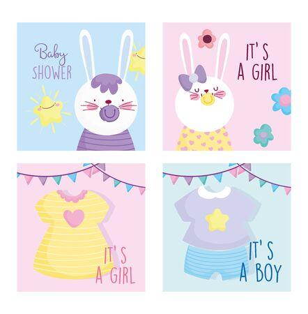 boy or girl, gender reveal baby shower cute bunnies cards Archivio Fotografico - 137415161