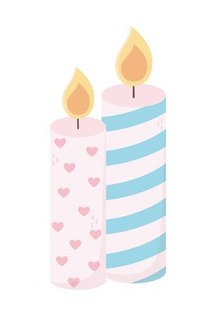 happy valentines day burning candles love hearts decoration
