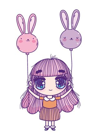 kids, little girl anime cartoon with balloons shaped rabbits landscape