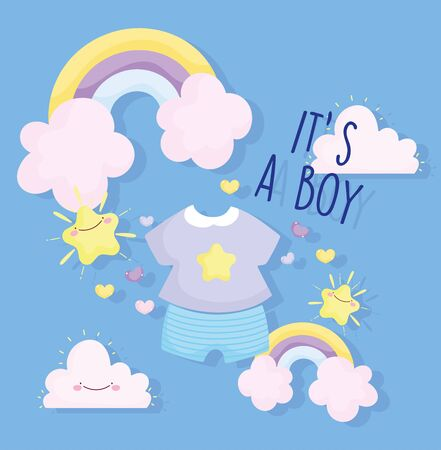 boy or girl, gender reveal its a boy clothes rainbow clouds stars card