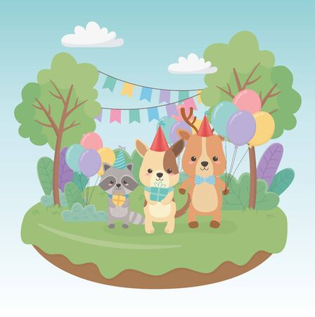 birthday card with little animals in the field characters Stock Vector - 137416378