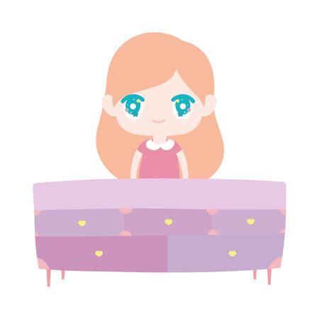 cute little girl cartoon behind furniture drawers