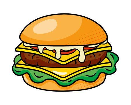 hamburger icon cartoon vector illustration