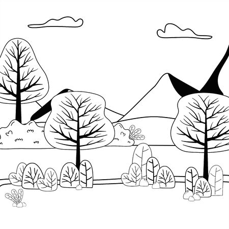 Mountain and trees design vector illustrator