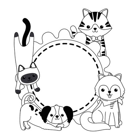 Cats and dogs cartoons design