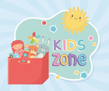 kids zone, filled red box with toys storage
