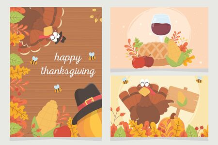 happy thanksgiving celebration posters turkey pumpkin pilgrim hat foliage