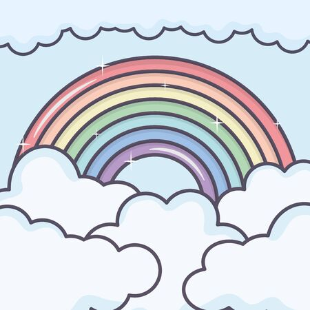 clouds sky with rainbow weather vector illustration design