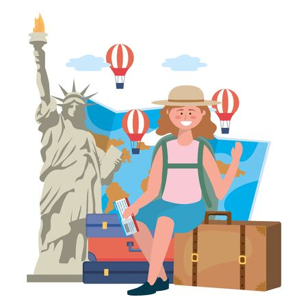 Statue of Liberty in New York design, Travel trip vacation tourism and journey theme Vector illustration