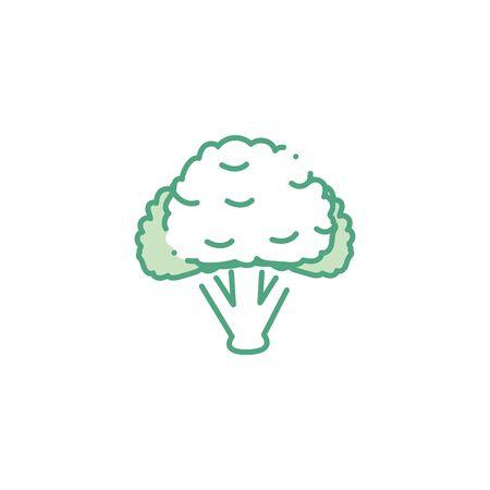 icône de style de remplissage de chou-fleur végétal