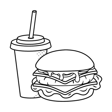 hamburger and soda paper cup with straw black and white vector illustration graphic design