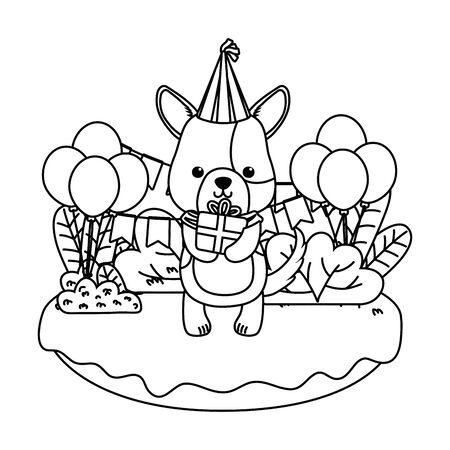 Dog cartoon design, Animal happy birthday celebration decoration and surprise theme Vector illustration Stock Vector - 137473297