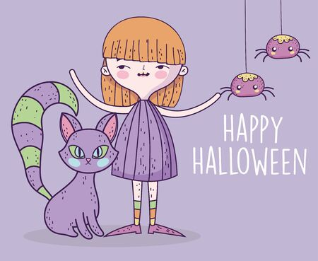 felice festa di halloween ragazza con gatto e ragni