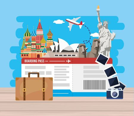 travel destination adventure with ticket and camera pictures