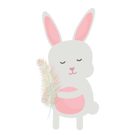 cute little rabbit lifting feather character Vettoriali