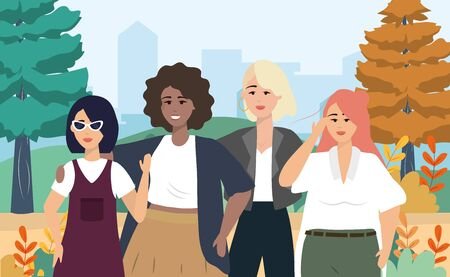 pretty girls with casual clothes and hairstyle with pines trees vector illustration Foto de archivo - 137526220