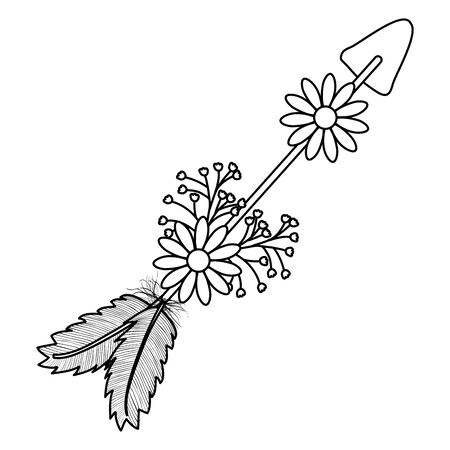 bohemian arrow with feathers and flowers