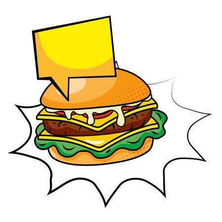 hamburger icon cartoon with speech bubble vector illustration graphic design