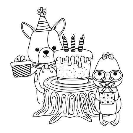 Animals with happy birthday icon design Stock Vector - 137596007