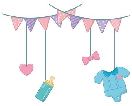 baby elements hanging on clothesline rope 向量圖像
