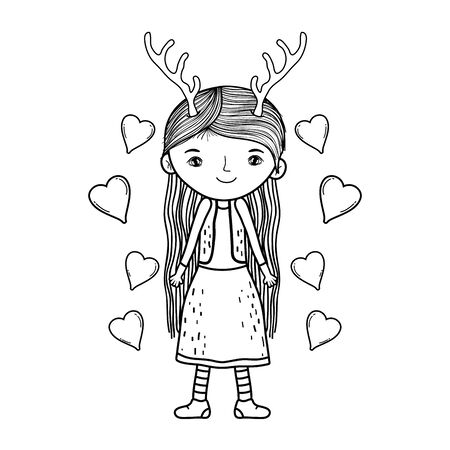 cute little fairy with deer horns character