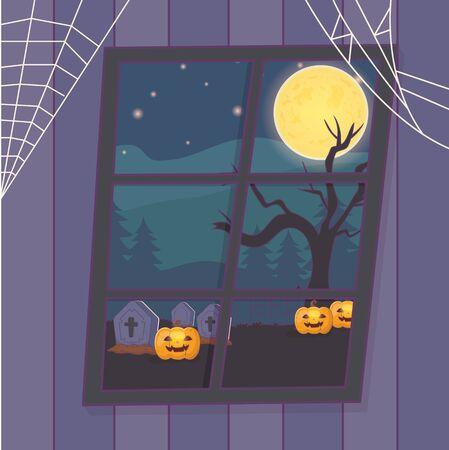 view window cemetry with pumpkins tree night halloween