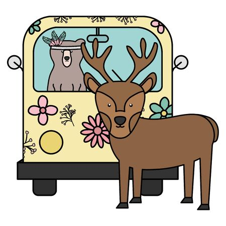 reindeer and bear in hippie van bohemian style