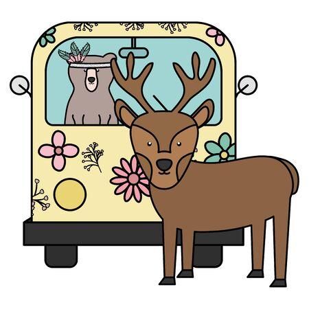 reindeer and bear in hippie van bohemian style